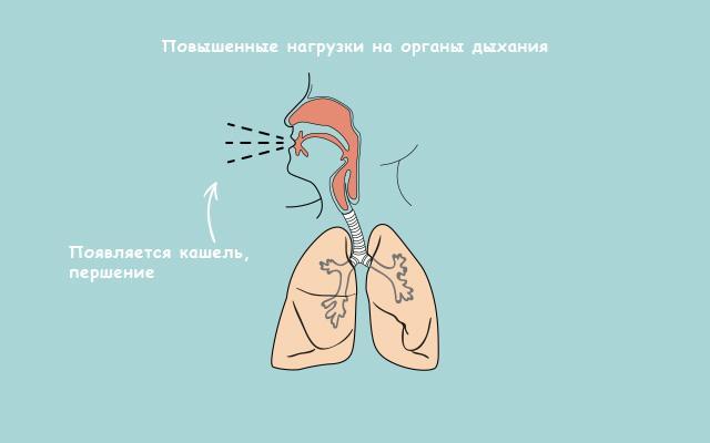Повышенные нагрузки на органы дыхания