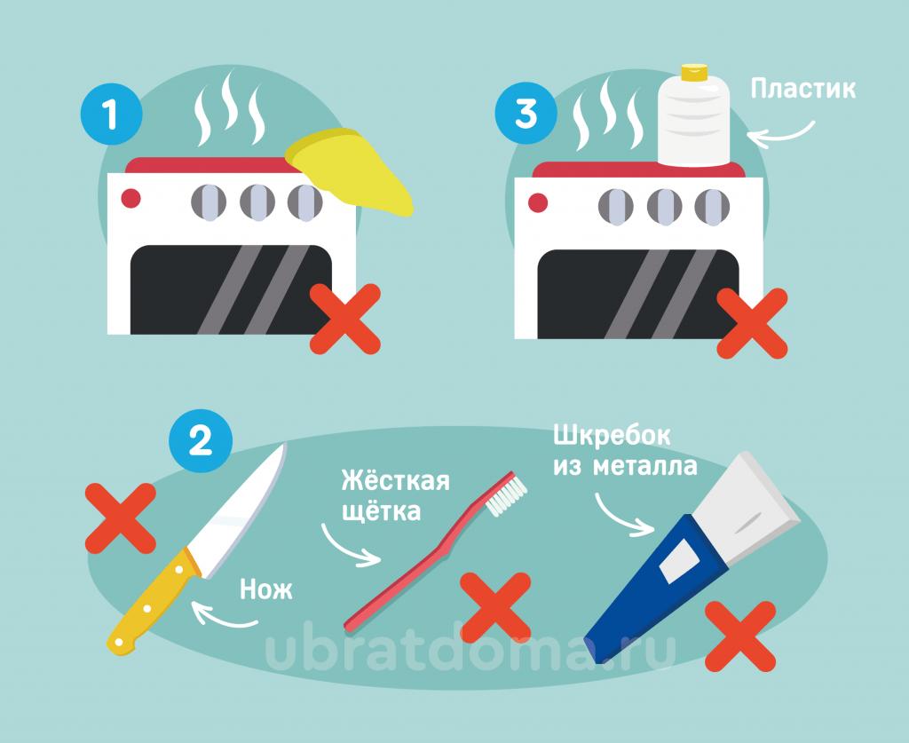 Что нельзя делать во время чистки стеклокерамической плиты?