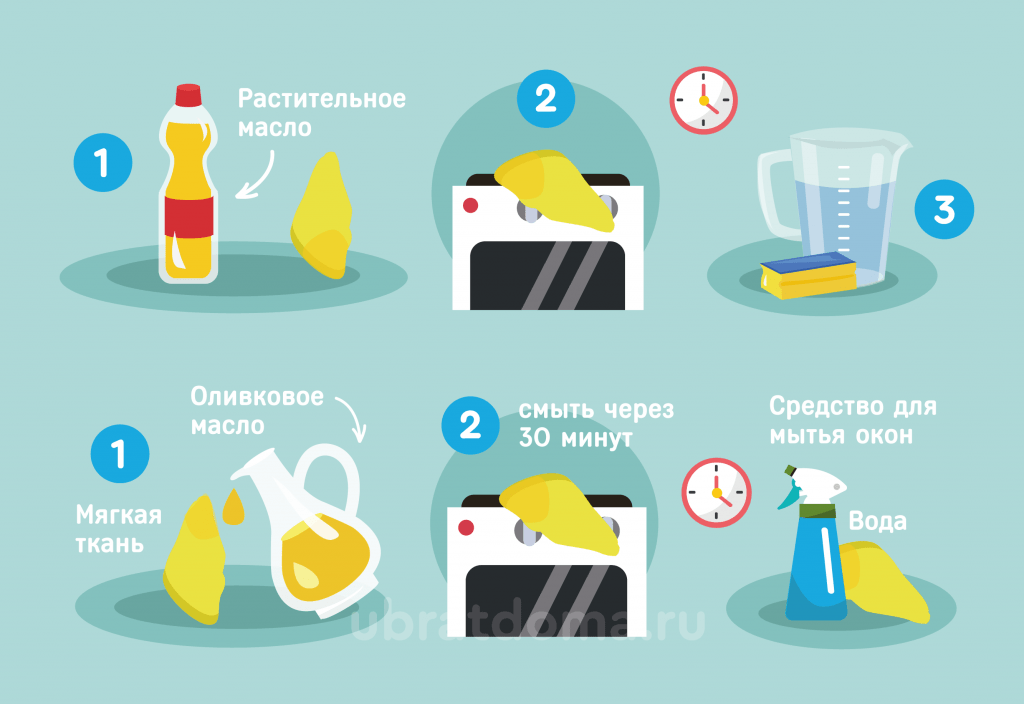 Как почистить плиту растительным маслом?