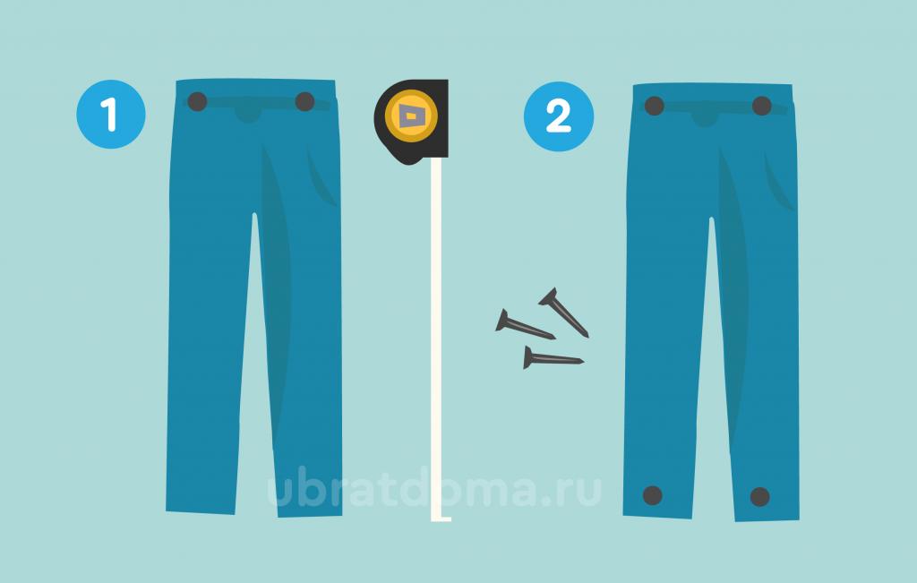 Прибиваем штаны в области пятки