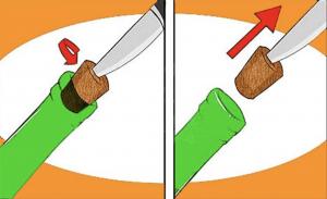Как открыть пробку от вина ножом?
