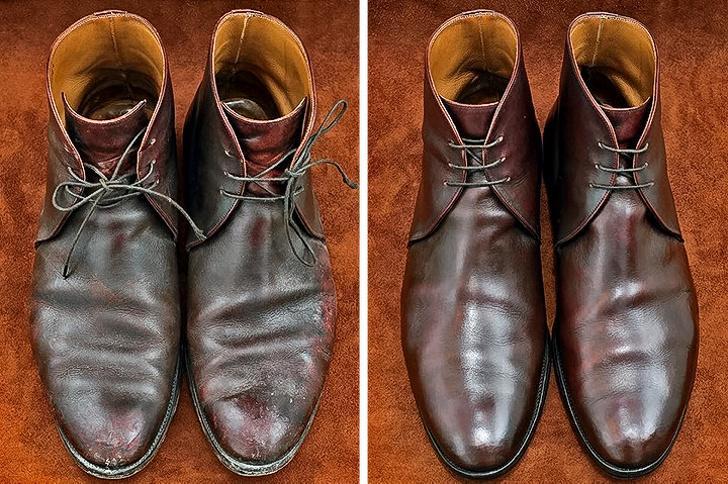 Как убрать заломы на обуви?