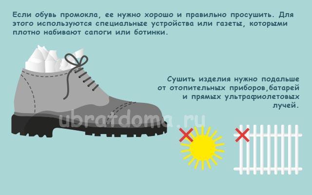 Правильная сушка мокрой обуви